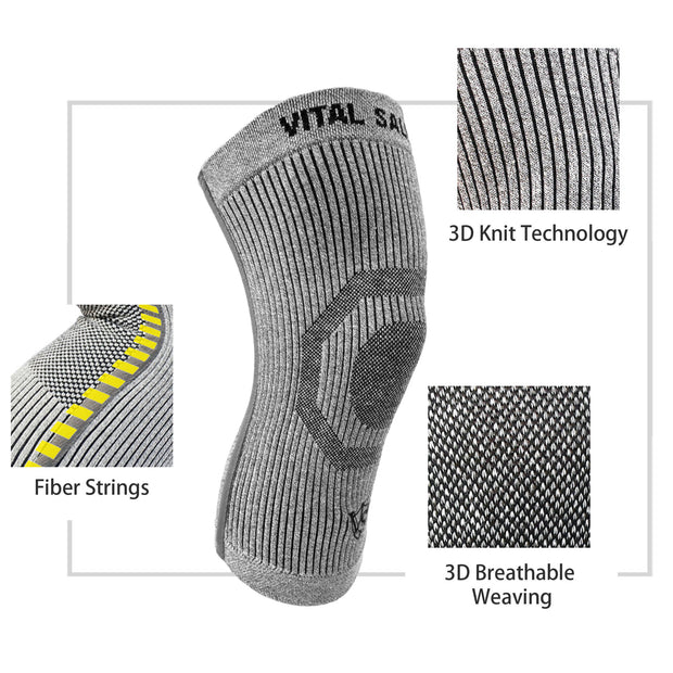 Brace-3D Knit Knee Sleeve/Brace S-SUPPORT (Pair) - Vital Salveo