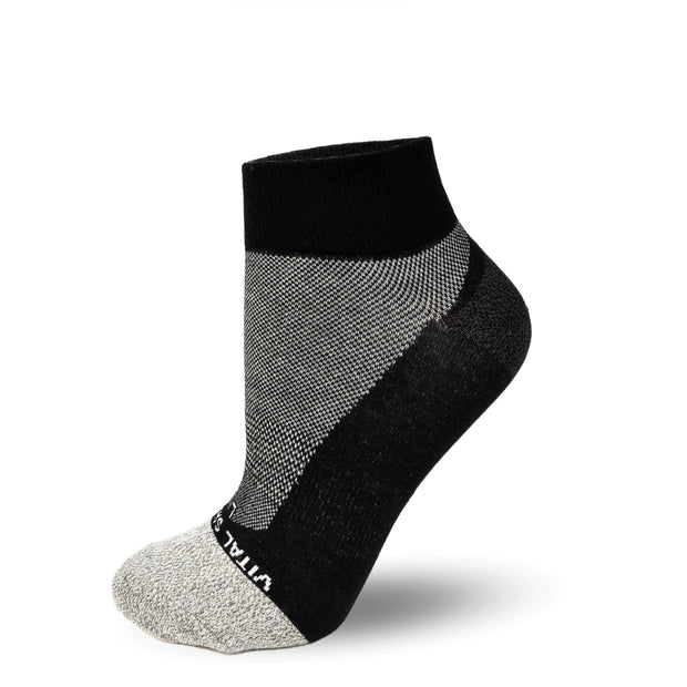Socks-Thin Athletic Ankle Socks (Black) - Vital Salveo