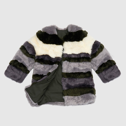 Francine Faux Fur - Autumnal Stripe