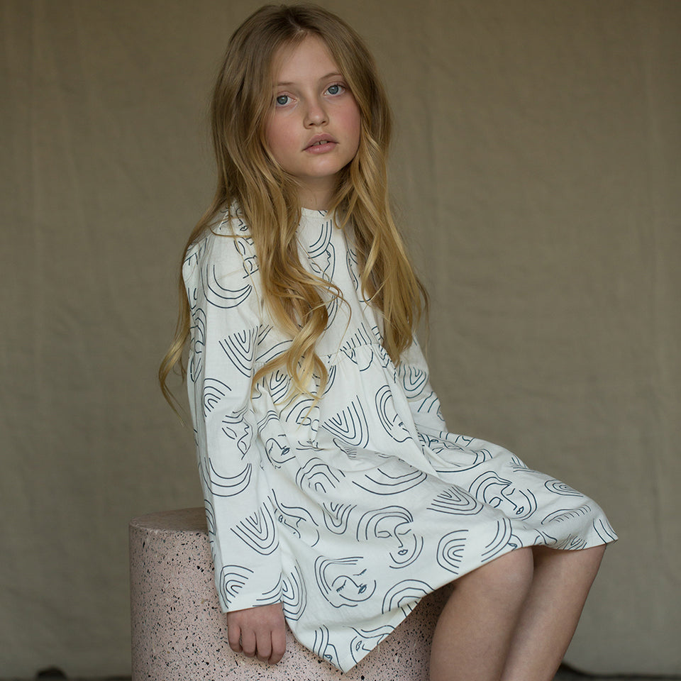 Long Sleeve Lounge dress - Rainbow Dreaming White/Blue