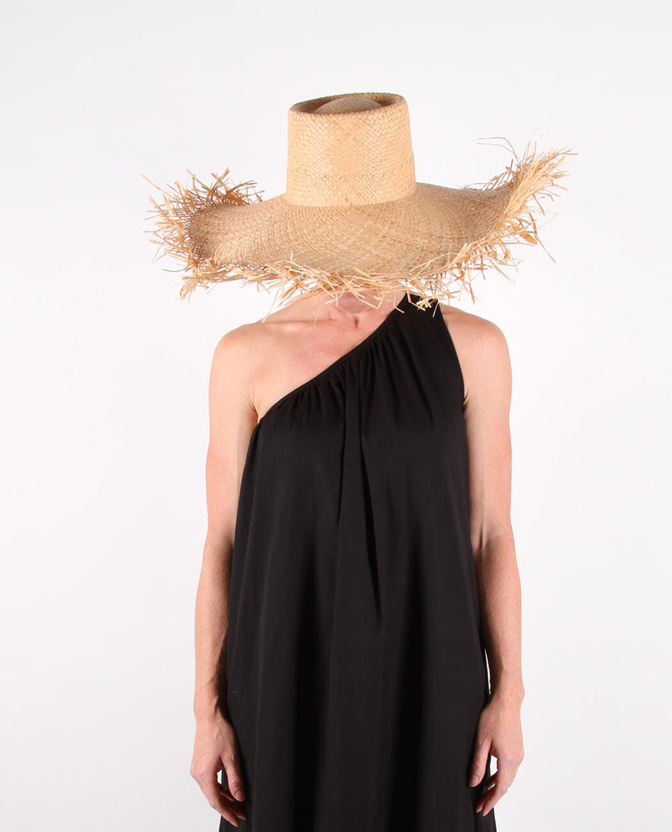 Floppy frayed edge sun hat
