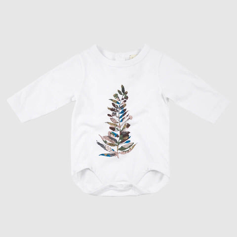 Long Sleeve Baby Onesie - Feather Tree