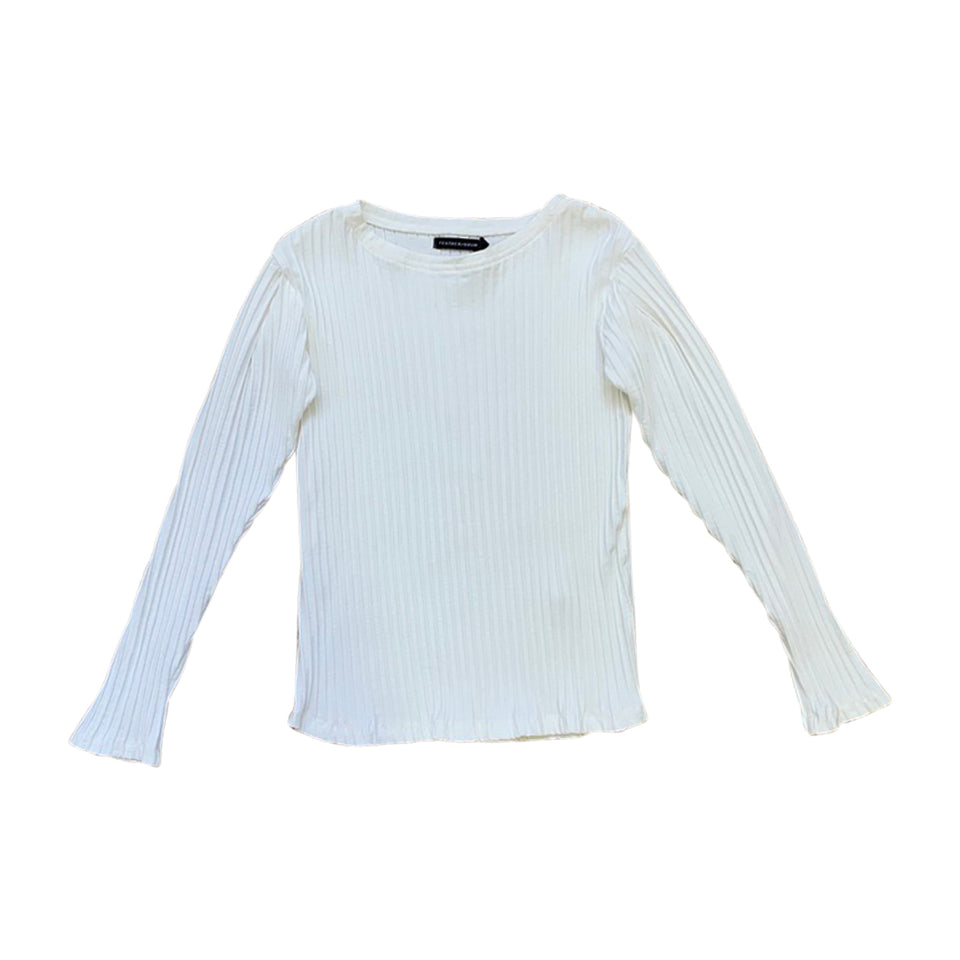 PIPER LONG SLEEVE TEE - MILK RIB