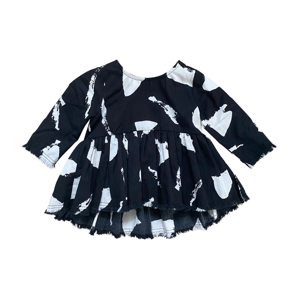 BABY ELIZA LONG-SLEEVE SMOCK - CHALK AOP