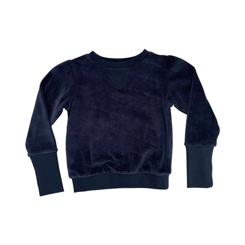 BABY TORY VELOUR SWEATER - BLACK