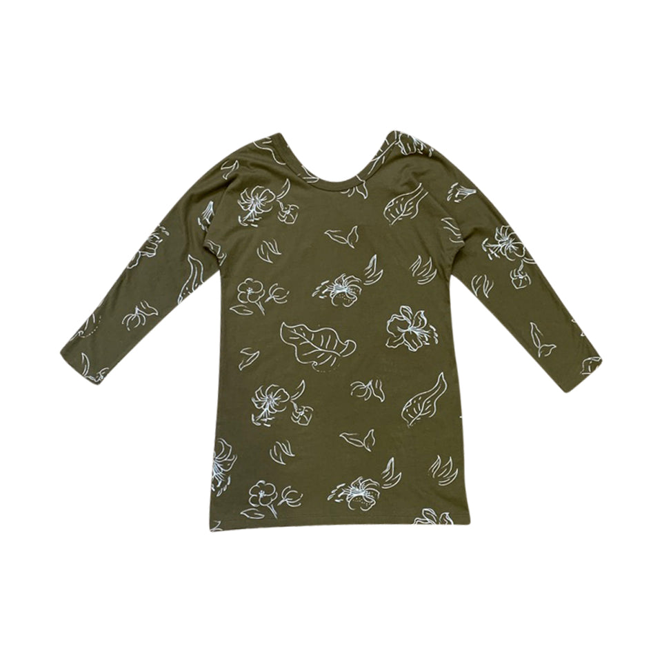 LONG SLEEVE TEE LOUNGE DRESS - WILD FORAGER