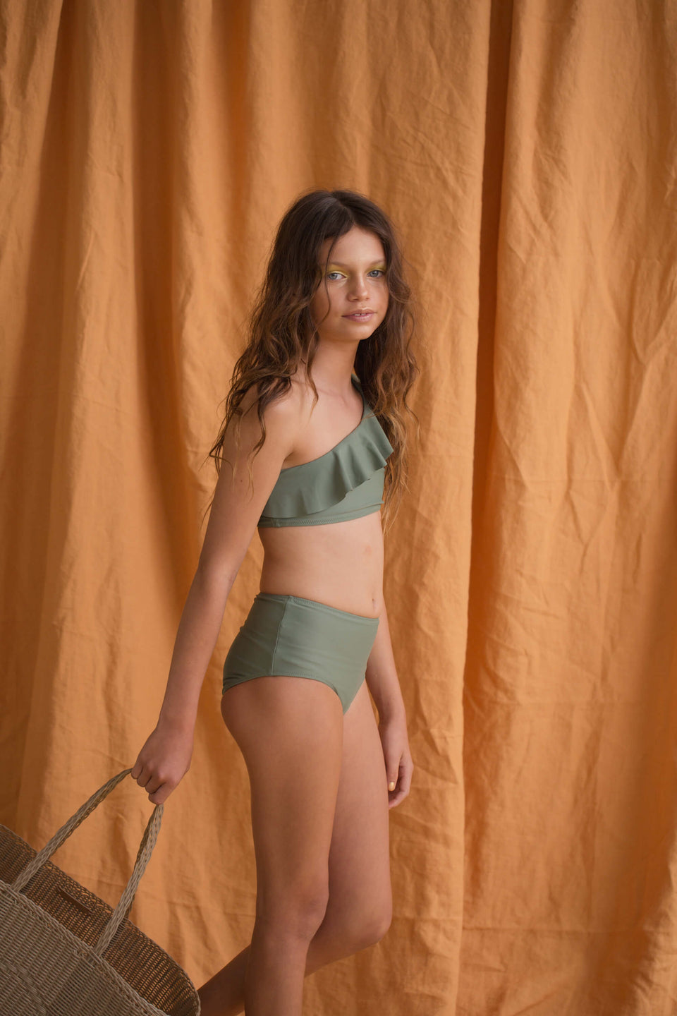 ONE SHOULDER FRILL BIKINI - ARMY