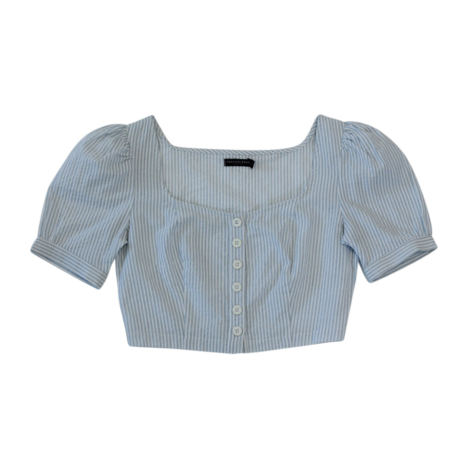 CLAIRE PUFF SLEEVE TOP - BLUE PINSTRIPE SEERSUCKER