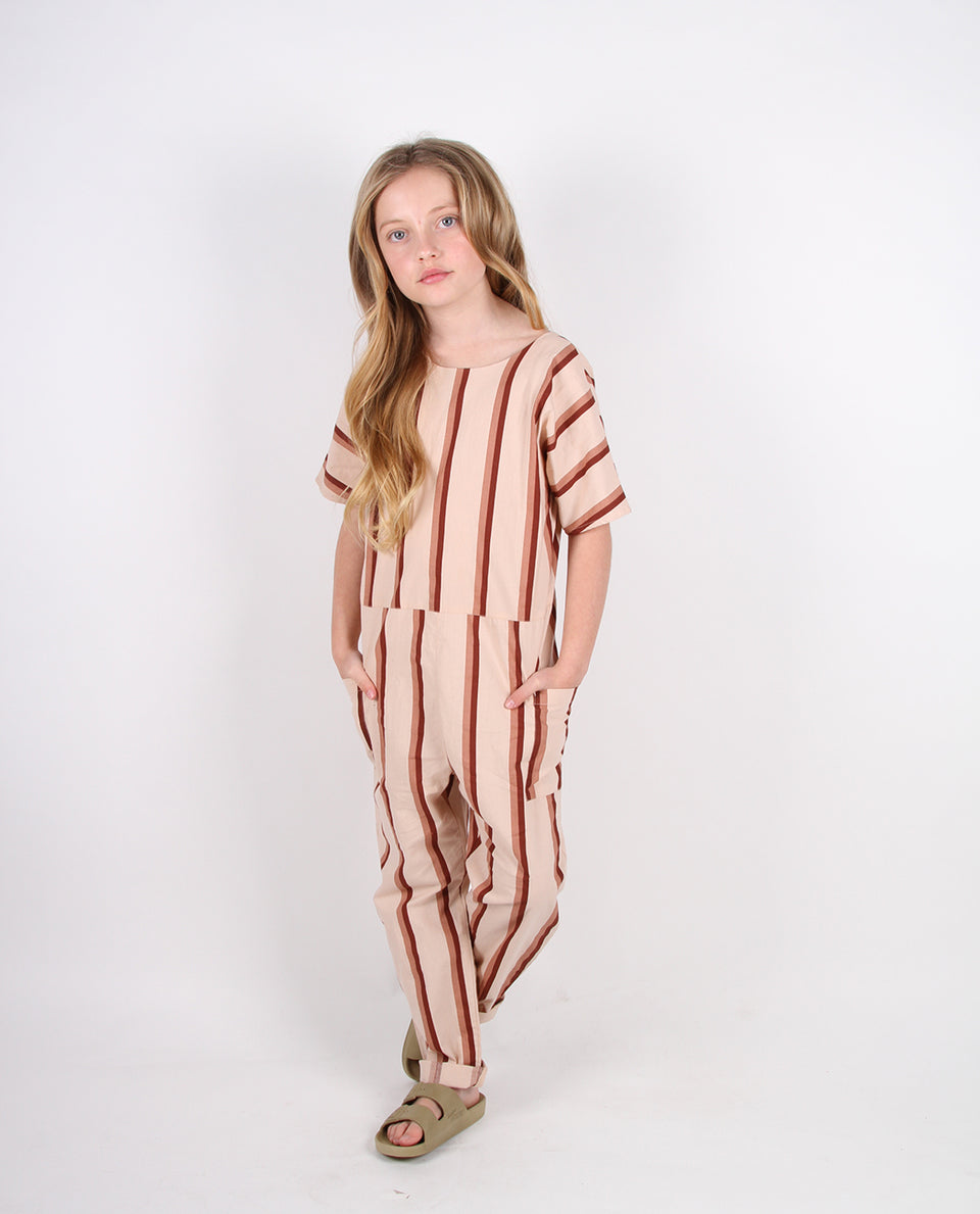 COREY JUMPSUIT - BRANDY STRIPE