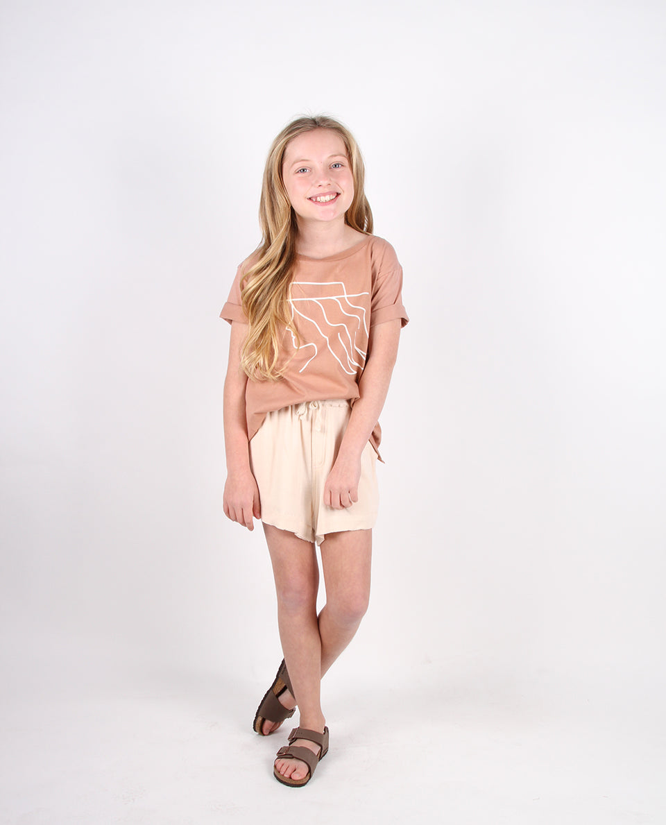 DOUBLE HEM SHORTS - CHAI