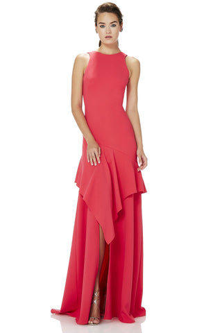 Crepe Gown with Asymmetrical Flounce -