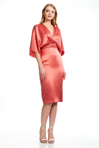 Satin Cocktail Dress - Kimono sleeve, deep v neckline, satin pencil skirt cocktail dress features cinched waist This kim...
