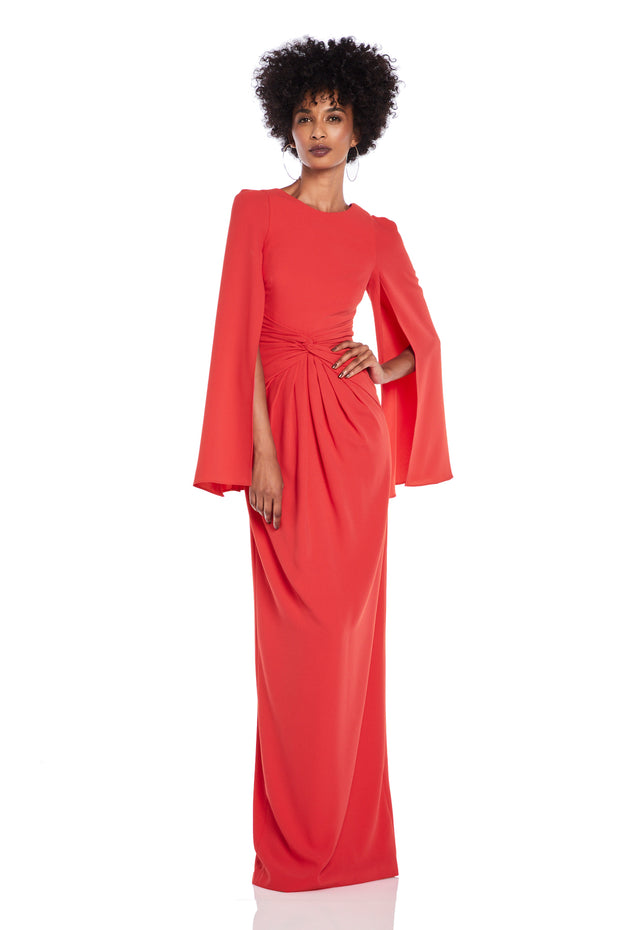 Cape Sleeve Twist Knot Gown