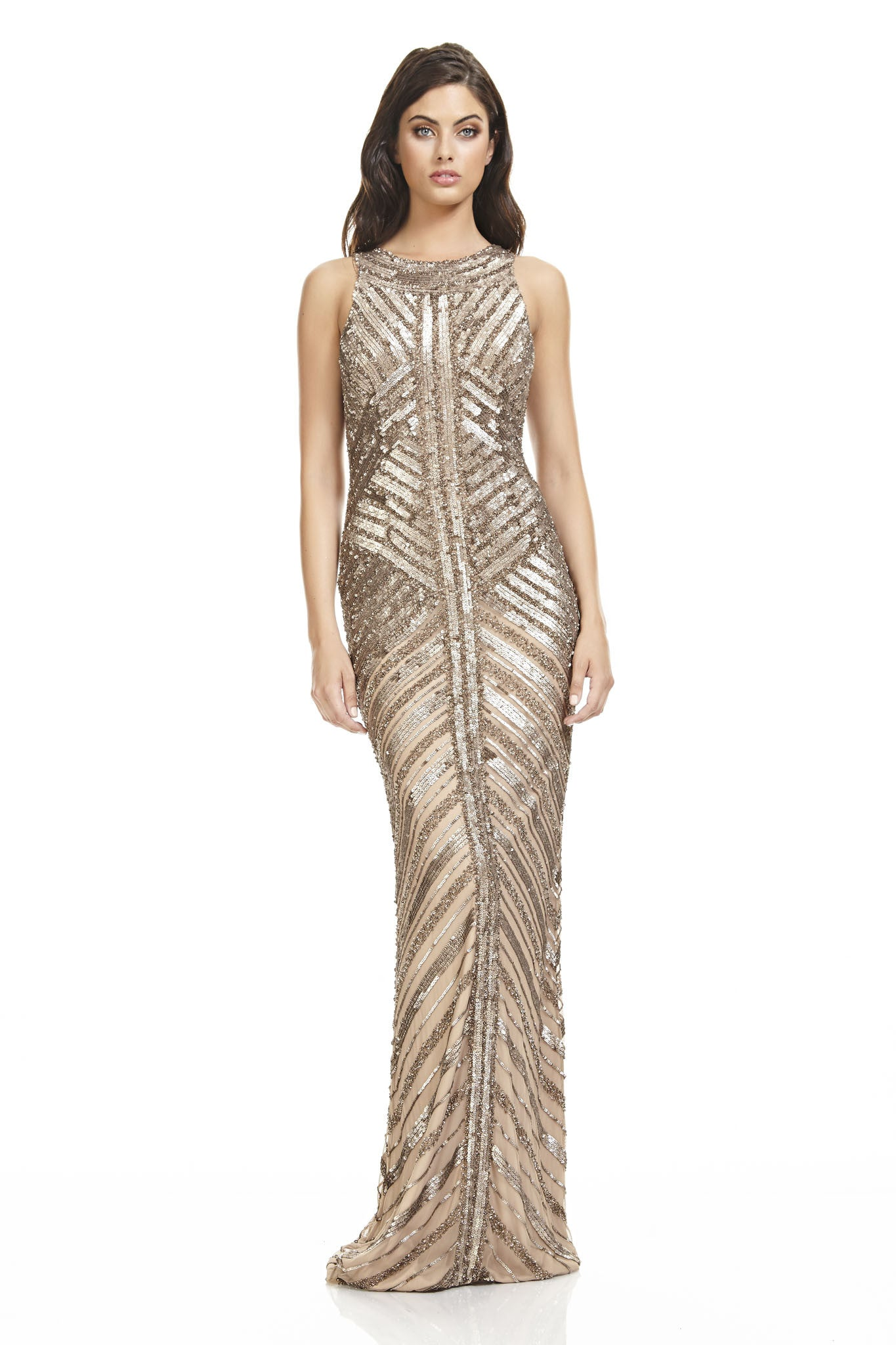 Sequin and Glass Beaded Gown – THEIA
