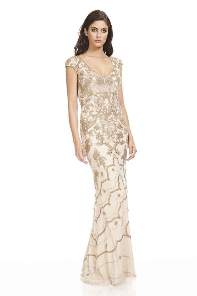 Beaded Floral Gown Theia
