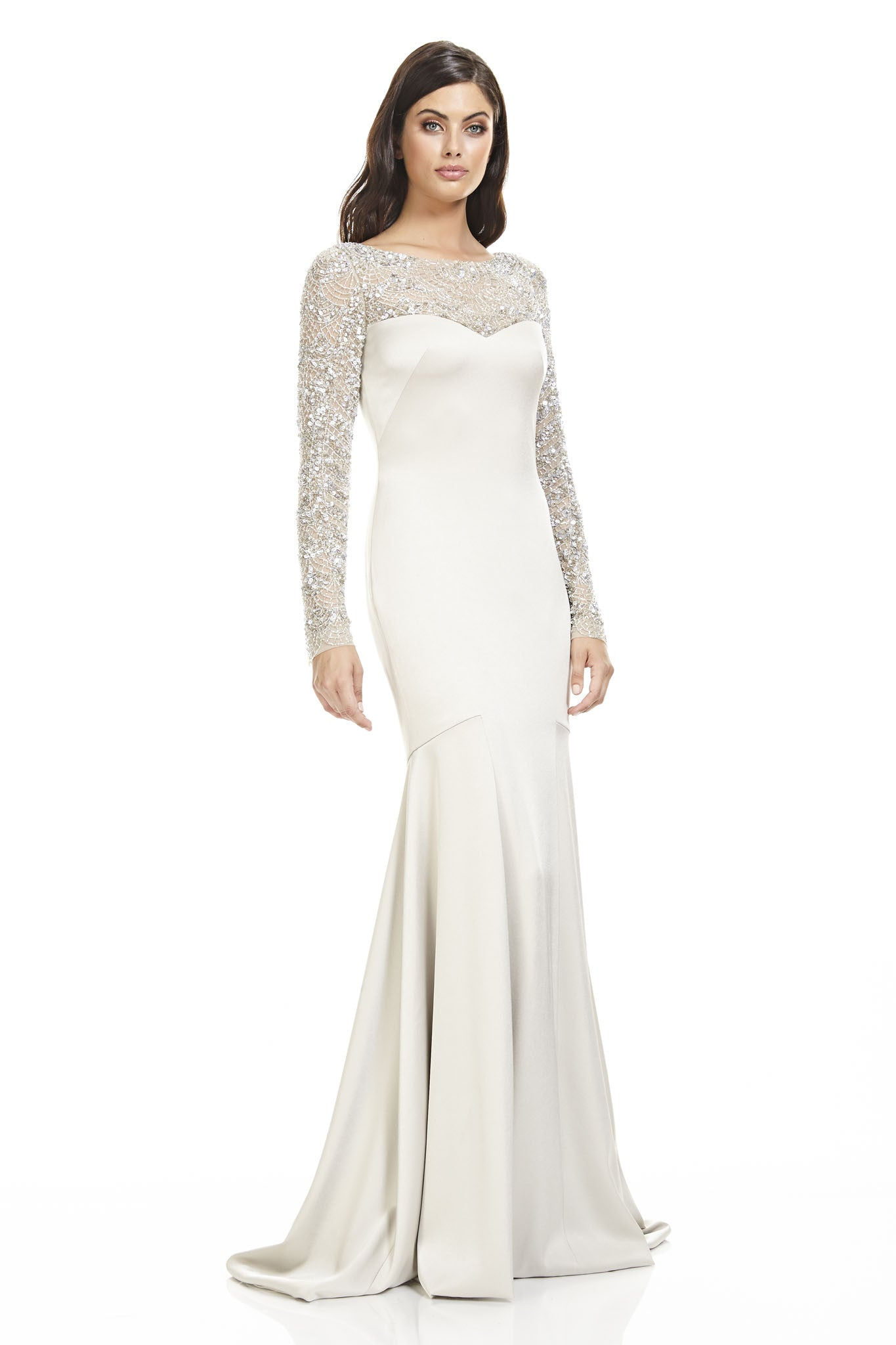 Mermaid Gown with Beaded Sleeves – THEIA
