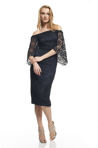 Off-The-Shoulder Lace Dress -  Off the shoulder Flounce sleeves Guipure lace Fitted silhouette Embellished with crystals Back z...