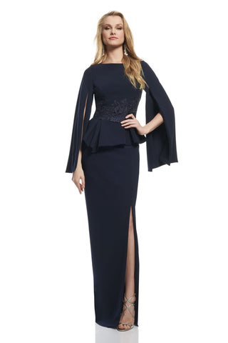 Cape Sleeve Peplum Gown -