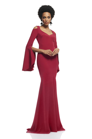 "Cold Shoulder Gown -  Cold Shoulder Long bell sleeves V-neckline Mermaid silhouette Back zipper closure ≈62 ½"" from sh..."