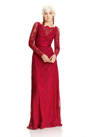 Long Sleeve Lace Gown -