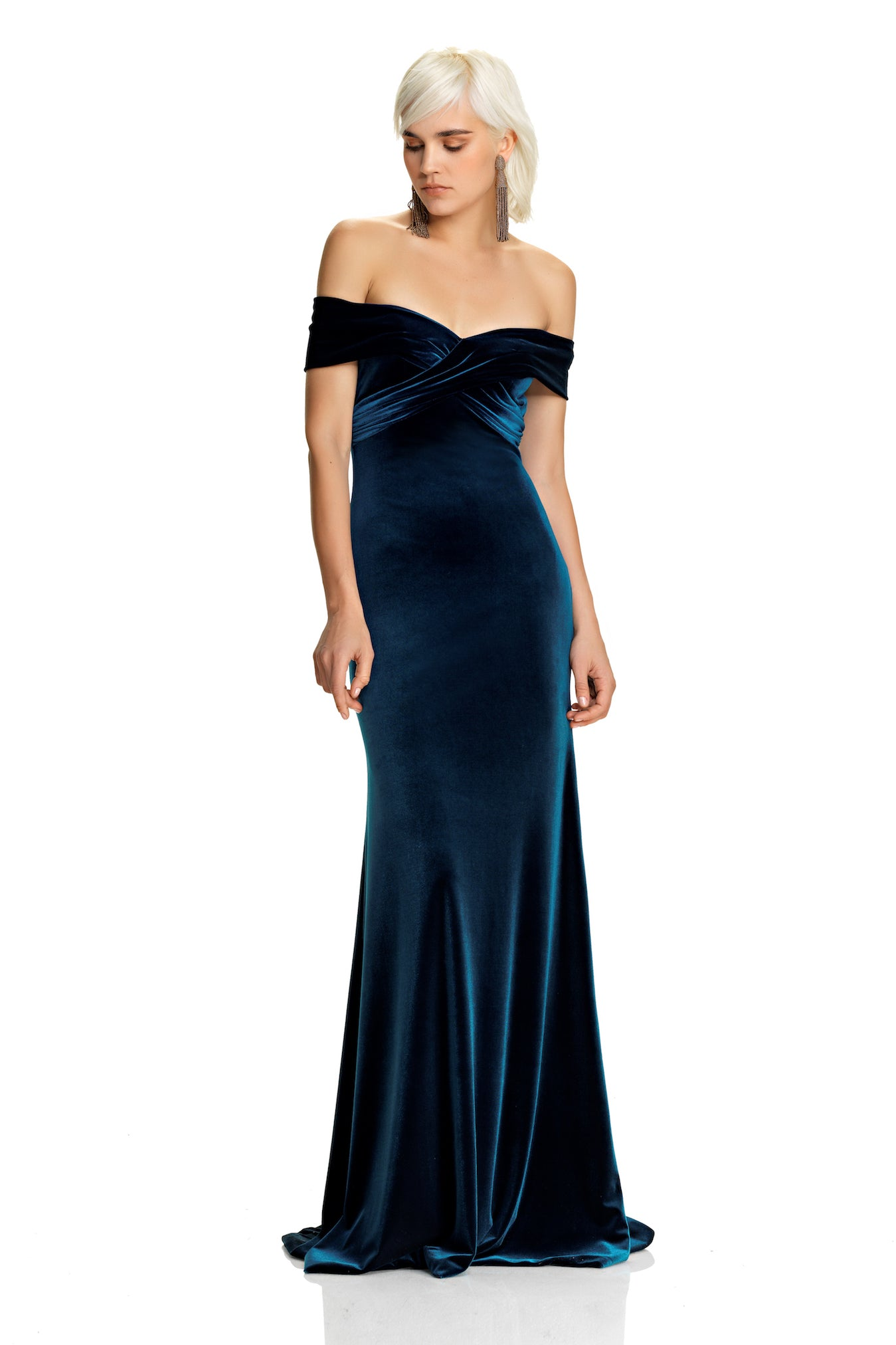 Off The Shoulder Velvet Gown – THEIA