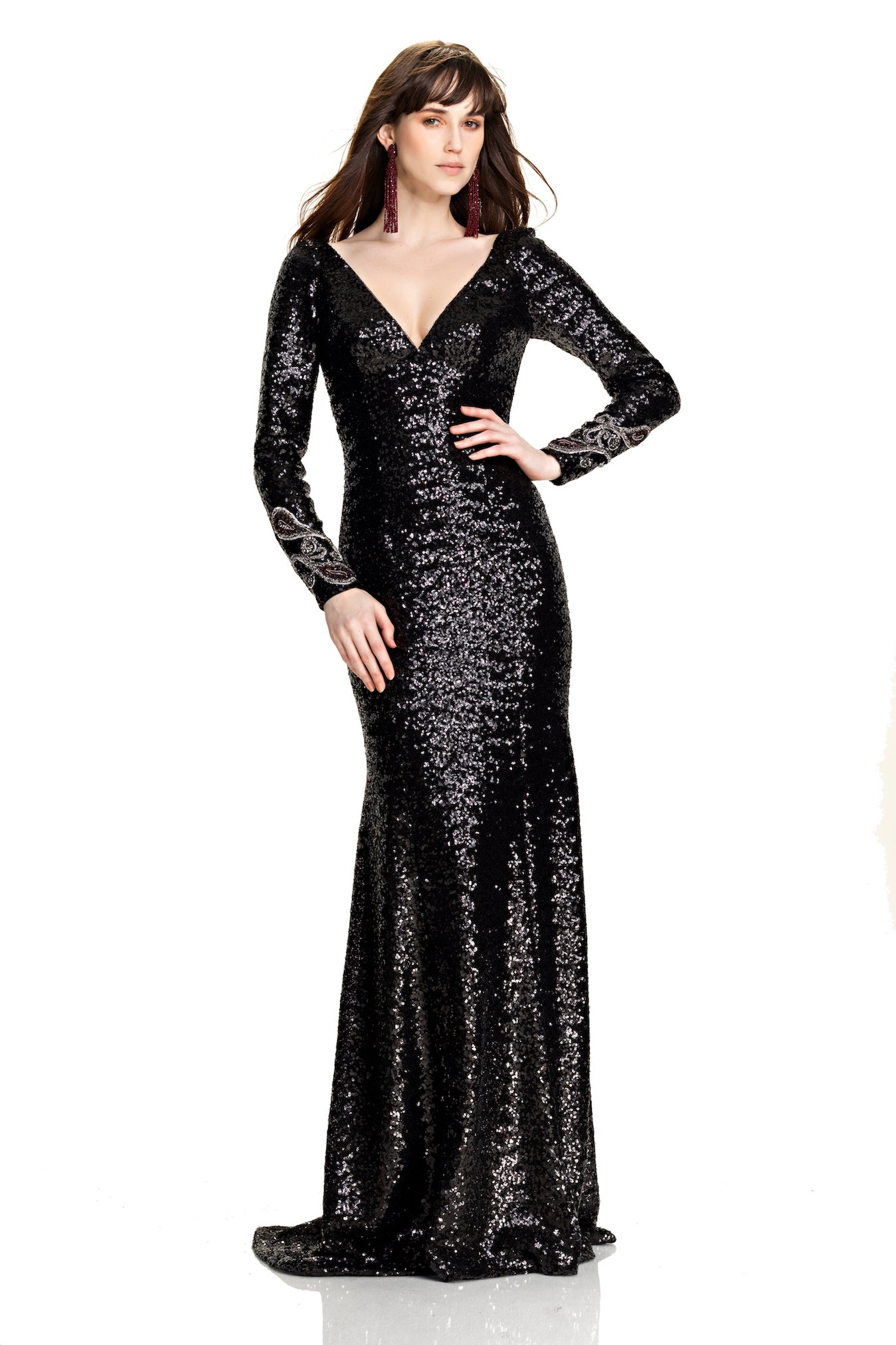 Long Sleeve Micro Sequin Gown – THEIA