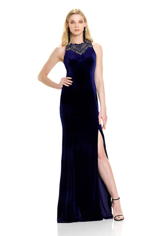 Velvet Gown with Slit -