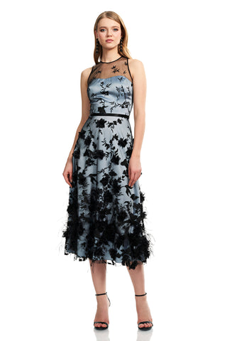 Sleeveless Floral Cutaway Dress - Tulle style, sleeveless, floral cocktail dress features a jewel neck illusion and hand appliquéd ...