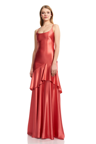 Satin Spaghetti Strap Dress - Satin, spaghetti strap, slip gown features a flounce detail at the center front skirt This simpli...
