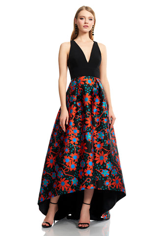 Sleeveless V Neck Crepe Gown - Sleeveless, v-neck, crepe gown features a floral polka dot high low skirt This one of a kind gown...