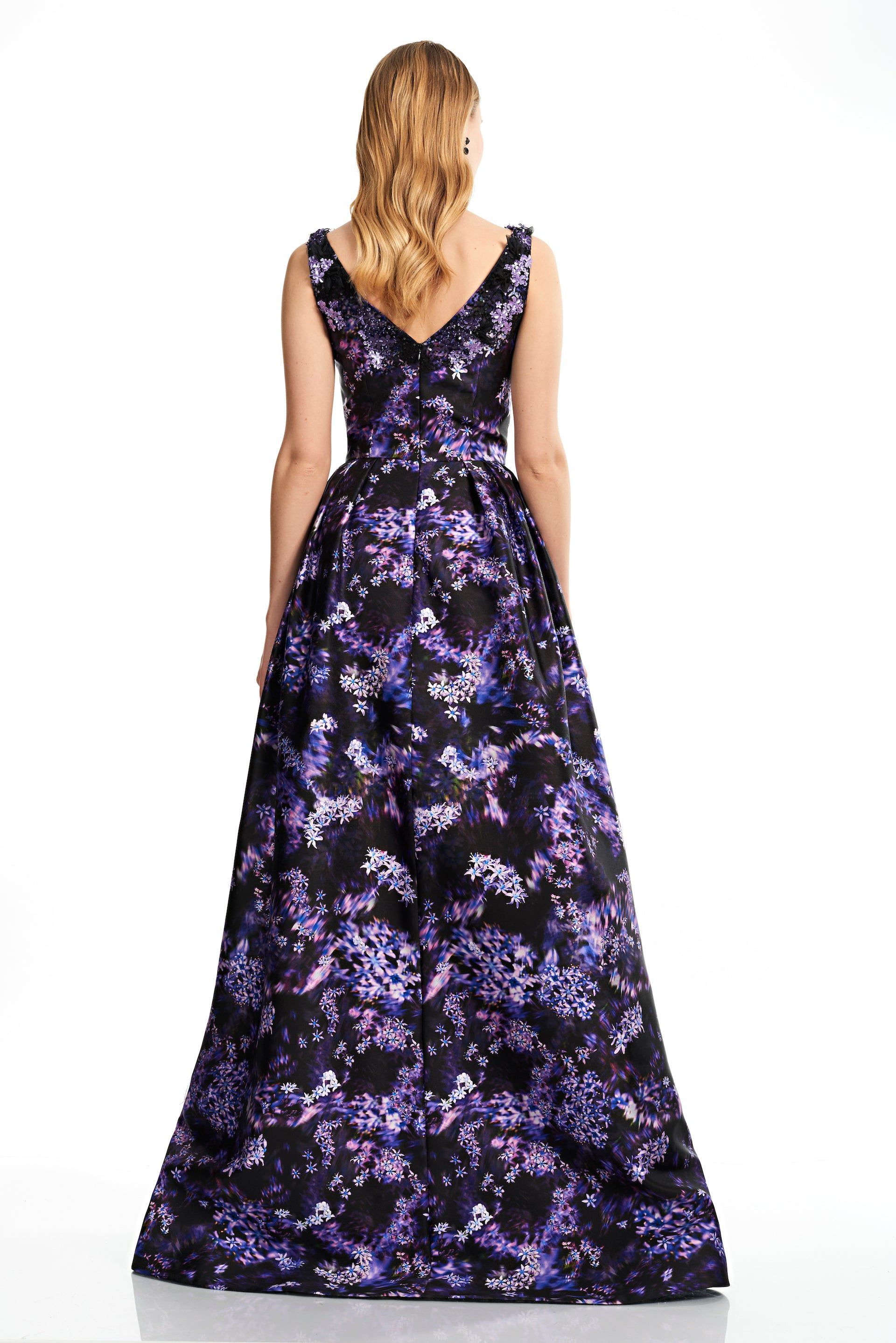 Sleeveless V Neck Floral Gown – THEIA