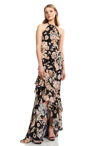 Sleeveless Halter Neckline Charmeuse Gown - Sleeveless, halter neckline, charmeuse gown features floral decoupage and ruffle detail This figu...