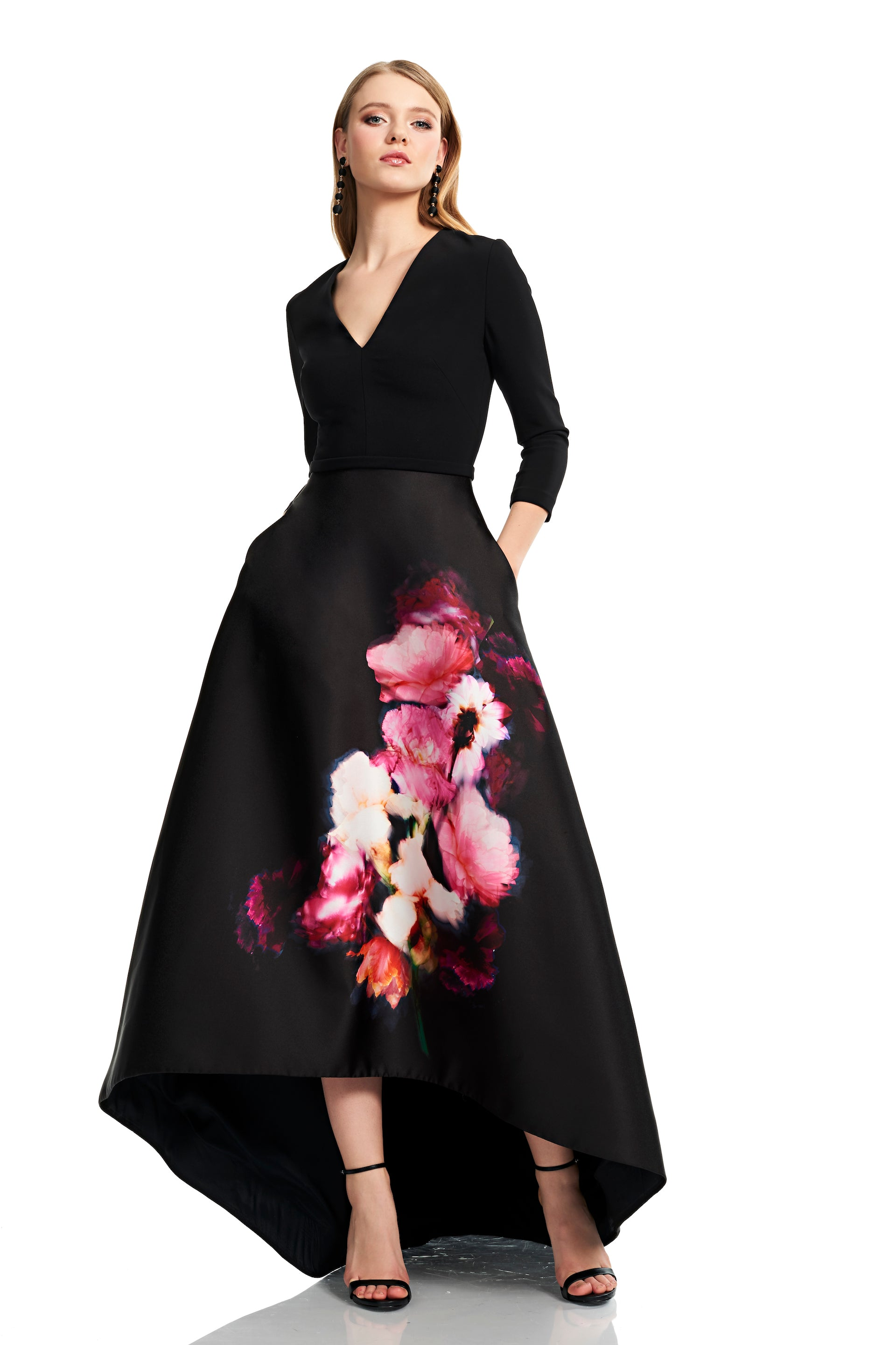 3/4 Sleeve V Neck High Low Crepe Gown – THEIA