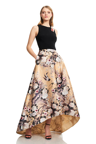 Sleeveless Jewelneck High Low Crepe Gown - Sleeveless, jewel neck, crepe gown features a Japanese Parchment print mikado skirt and floral be...