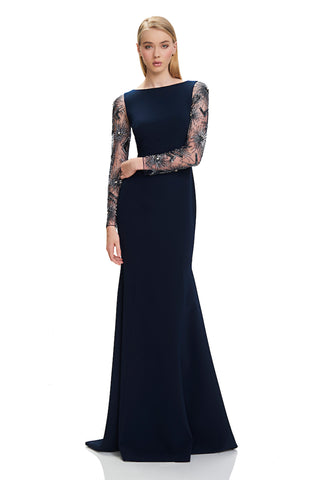 Bateau Neckline Crepe Dress - Bateau neckline, crepe dress features mermaid silhouette and starburst beaded long sleeves  Body ...