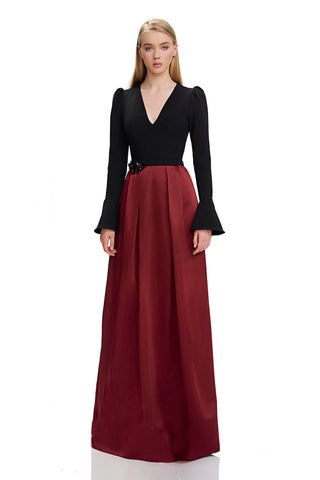 Puff Sleeve V-Neck Gown - Puff sleeve, v-neck gown features crepe top and 3D sequin flower applique at waist  Body: 92% Pol...