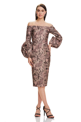 Metallic Cocktail Dress - Metallic cocktail dress features off the shoulder neckline and blouson sleeve detailing   Body: 4...