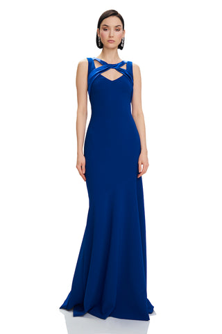 Crepe Asymmetrical Gown - Crepe, asymmetrical gown features mermaid hem and satin twist detail at neckline  Body: 92% Polye...