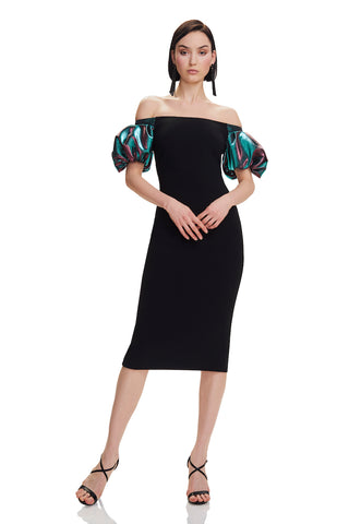 Off The Shoulder Crepe Dress - Off the shoulder, crepe dress features duochrome puff sleeves   Body: 92% Polyester, 8% Polyureth...