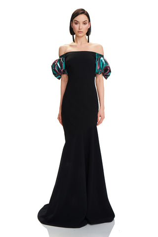 Crepe Mermaid Gown - Crepe mermaid gown features off-the-shoulder neckline and duo chrome puff sleeves  Body: 92% Poly...