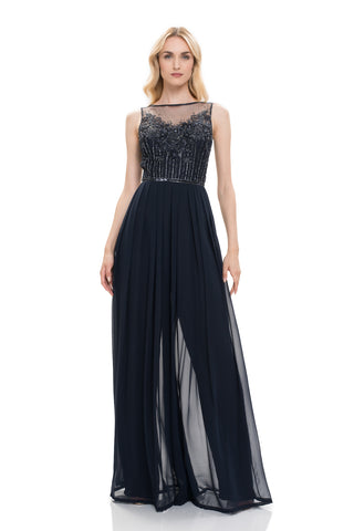 Sleeveless Boatneck Jumpsuit - Sleeveless boatneck georgette jumpsuit features a hand beaded scattered floral motif bodice. Spic...