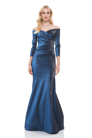 Stretch Lurex Mermaid Gown - 3/4 sleeve, off the shoulder, stretch lurex mermaid gown features pleating detailing Body and Lin...