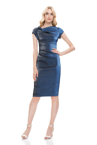 Stretch Lame Cocktail Dress - Cap sleeve, textured, stretch lame cocktail dress features pleating detail and sculpted detail at...