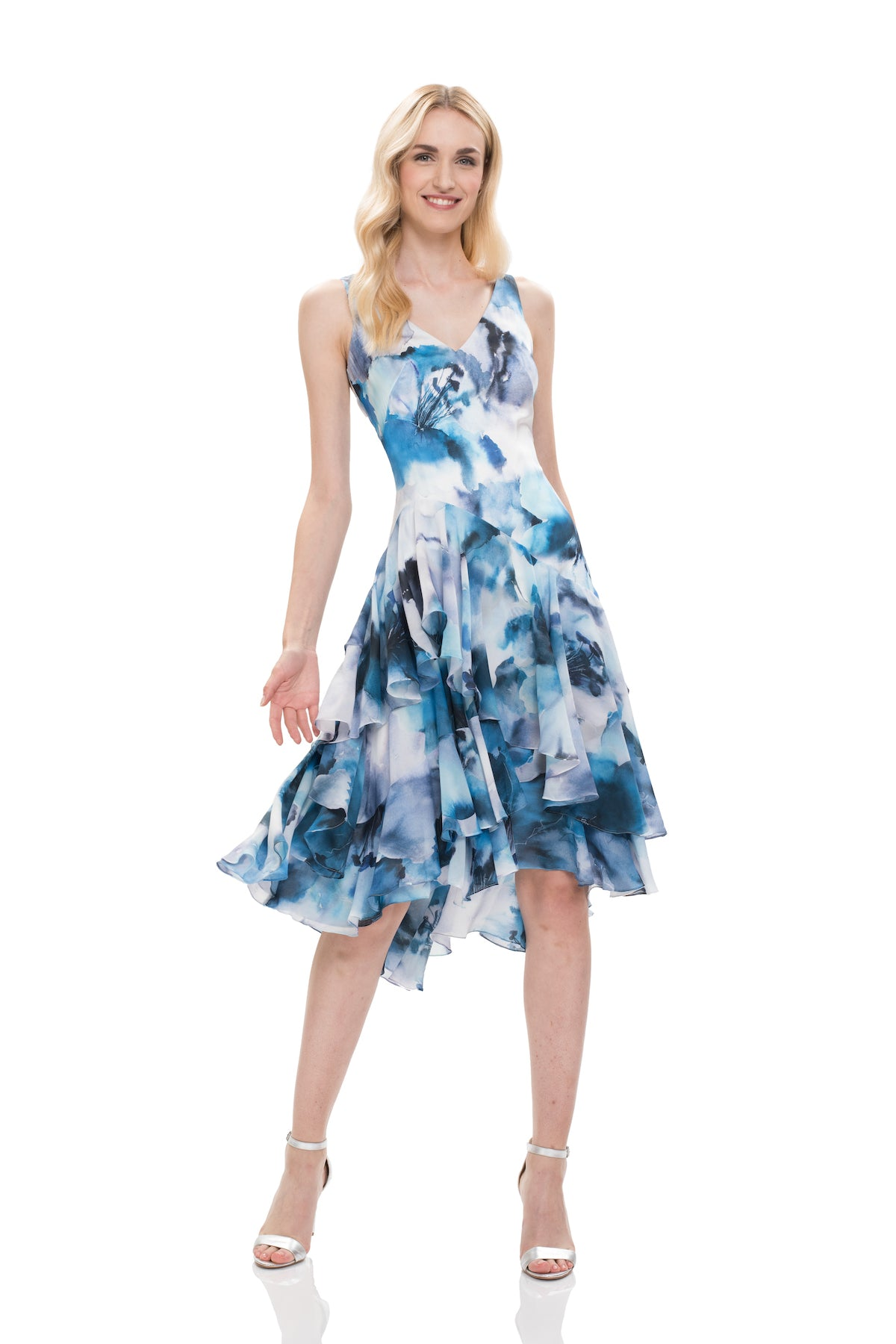 d7cd8f40318 Watercolor Asymmetrical Cocktail Dress – THEIA