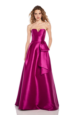 Sleeveless Faille Gown - Sleeveless, v neck, failled gown features a bow detail at waist   Body and Lining: 100% Polyester...