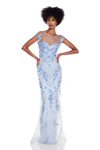 Boatneck Beaded Gown - Boatneck, cap sleeve gown features beading and 3D flowers   Body: 100% Nylon Lining: 100% Polyest...