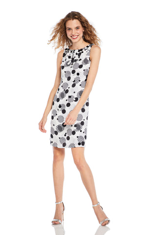 Printed Cocktail Charmeuse Dress - Printed cocktail dress features paillettes embellishment  Body and Lining: 100% Polyester  Style ...