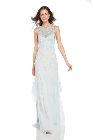 Jewel Neck Tulle Dress - Jewelneck, handkerchief gown features 3D flowers and crystal embellishment   Body: 100% Nylon Lin...