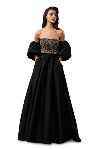 Strapless Ball Gown - Strapless, taffeta ball gown features hand-embroidered crystals, glass beads and detachable ballo...