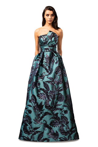 Draped Bodice Gown - Strapless, brocade gown features draped bodice  Body and Lining: 100% Polyester  Professional Dry...